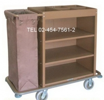 MT-13:รถเข็นแม่บ้านเหล็กพ่น 3 ชั้น มีถุงผ้า -13